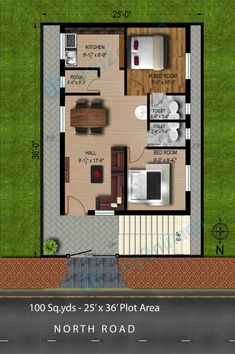 Tamilnadu House Plans North Facing - Home Design 2bhk House Plan, Model House Plan, Small House Floor Plans, Simple House Plans, House Layout Plans, Duplex House Plans, Bedroom House Plans, Duplex House Design, Small House Design