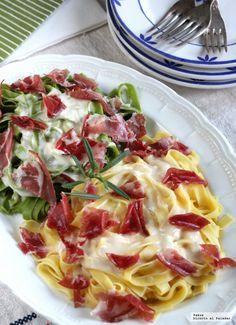 Te explicamos paso a paso, de manera sencilla, la elaboración de la receta de Paja y heno con salsa de queso y coppa di Parma: Ingredientes, elaboración