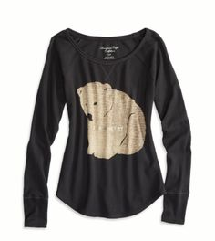 Womens Merry Maker Thermal Shirt - Ebony Grey Bear