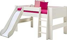 This mid sleeper bed frame from Wizard is made from sturdy, durable pine. Ideal for a growing family, it can be adapted via conversion kits into either a bed, high sleeper, or bunk bed. Mid Sleeper With Slide, Kids Mid Sleeper, White Mid Sleeper, High Sleeper Bed, Bed With Slide, Cabin Bunk Beds, Futon Bunk Bed, Childrens Cabin Beds, Childrens Bedroom