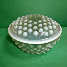 Anchor Hocking Glass French Opalescent Moonstone Puff Box Vintage Jar  offered by rubylane shop Saltymaggie's Treasures