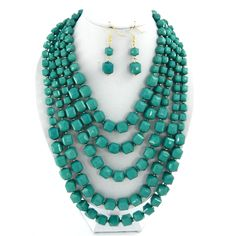 "Jade 24"" layered beads necklace set"