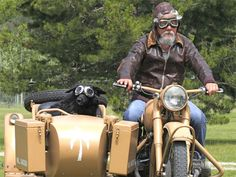 David Suzuki & a dog wearing goggles go for a motorcycle ride! :)