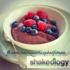 Healthy Chocolate Shakeology Yogurt Snack Recipe 1 scoop Shakeo, 1 cup greek yogurt, berries