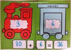 Para trabajar la descomposición de números, aquí os dejo el tren que he hecho en cartulina plastificada:                 El material para ...