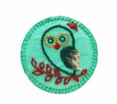 Owl Felt Brooch