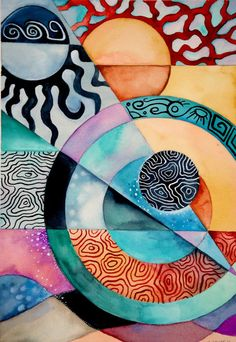 Electric Sun by KimberlyGarvey Abstract Face Art, Abstract Geometric Art, Abstract Drawings, Abstract Watercolor, Surealism Art, Close Up Art, Cubism Art, Creative Poster Design, Arte Pop
