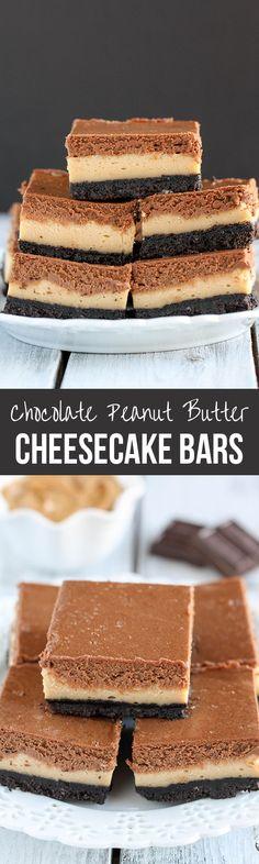 Layered Peanut Butter and Chocolate Cheesecake Bars