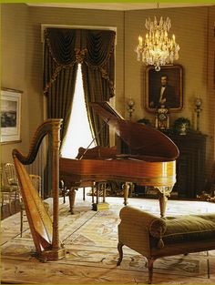 Music Room antique piano historic home Home Music Rooms, Home Studio Music, New Orleans Homes, New Homes, Grand Piano Room, Baby Grand Pianos, Decoration, Shelving, House Design
