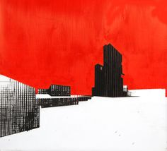"""Building 2, screenprint with handpainting on mylar by Ryan Parker, 18 x 20"""""""