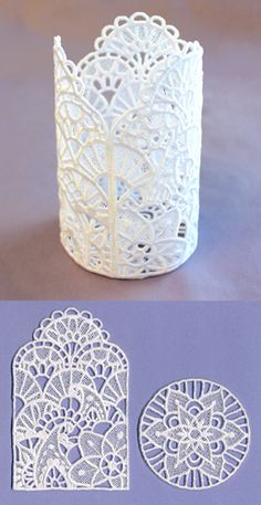 Stitch freestanding lace pieces on water-soluble stabilizer, then assemble into a pretty scalloped lantern.