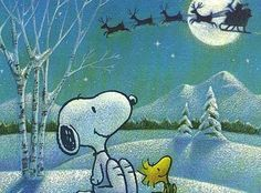 Snoopy, Woodstock and Santa sleigh painting idea. And to all a good night...