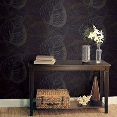 Tropical Leaves Wallpaper from the Eco Chic Collection design by Seabrook Wallcoverings Floral Print Wallpaper, Chic Wallpaper, Dark Wallpaper, Leaves Wallpaper, Wallpapering Tips, Interior Styling, Interior Design, Burke Decor, Wall Colors