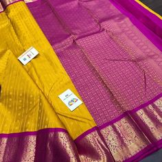 Yellow Saree Silk, Saree Blouse Patterns, Pure Silk Sarees, Saree Collection, Saree Wedding, Braided Hairstyles, Contrast, Pure Products, Boutique