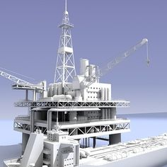 Detailed 3D oil rig and tanker model.   VRAY Lighting setup in .max version only