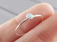 Beautiful textured handmade tiny stack rings with your choice gemstone! Pictured is 1 ring with 3mm simulated white opal. Each ring is handmade