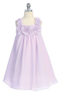 Flower Girl Dresses - Girls Dress Style 611- LILAC- Sleeveless Chiffon Floral Babydoll Dress