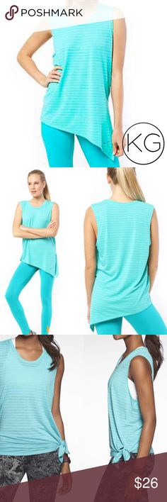 """Nike Dri-Fit Side Tie Workout Top in Teal Stripe In excellent pre-owned condition! •Women's size S •62% Polyester, 38% Rayon •18"""" from underarm to underarm, 25"""" from shoulder to hem •Labeled as """"loose-fit"""" - can be worn open as a tunic, or tied for a closer fit •First three photos are examples only- last photo is of actual top •Retail $40 no trades nor lowball offers Thank you for shopping in my closet! Nike Tops Tank Tops"""