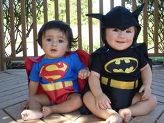 Superman diy Costume | DIY Twin Costume - Batman and Superman costume made from ... | kid ...