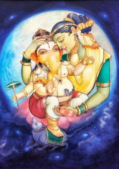 The sacred art as an offering to the Gods, and joy of men website page counter Lord Ganesha Paintings, Lord Shiva Painting, Ganesha Art, Krishna Art, Shri Ganesh, Durga Painting, Baby Ganesha, Krishna Leela, Shiva Art