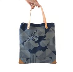 Canvas Leather Bag / Tote with Canvas by CaramelLeatherCrafts