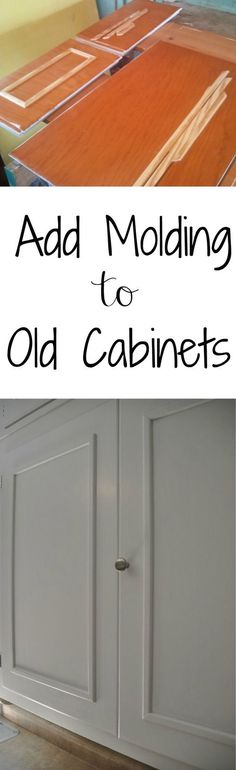 How to Add Cabinet Molding.  Great solution for those old cabinets! cabinet makeovers, updating old kitchen cabinets, add molding to cabinets, cabinet doors, updating kitchen cabinets, old cabinets, update kitchen cabinets, update old kitchen cabinets, cabinet update