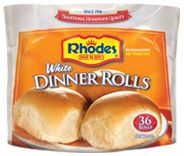 Soft and delicious Rhodes™ White Dinner Rolls are a great addition to any meal. With a great home-baked flavor these rolls are sure to please everyone. In addition to being delectable rolls, White Dinner Rolls are perfect for making butter flake rolls and our famous butterscotch bubble loaf. The White Dinner Rolls are available 12, 36, or 72 rolls per bag.