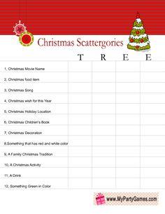 Scattergories inspired Christmas Game Worksheet using word Tree