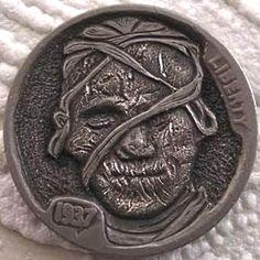 FINN LaRUE HOBO NICKEL - THE MUMMY - 1937 BUFFALO NICKEL Antique Coins, Old Coins, Rare Coins, Indian Skull, Buffalo Skull, Hobo Nickel, Coin Art, Dollar Coin, Sculpture Art