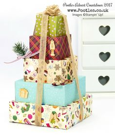 Pootles Advent Countdown 2017 #3 Stack of Christmas Gift Boxes I can't stop loving this stack! Stunning stack, you can use it to fill with gifts, or even festive home decor! Click through for more project details and a video tutorial!