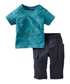 Take a look at this Peacock School Tee & Slate Pants - Infant by Tea on #zulily today!