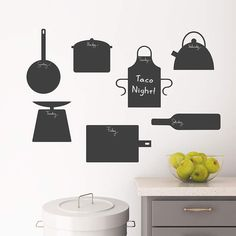 Chalkboard Kitchen Icons Wall Decal