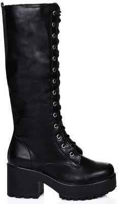 f527e68cb0c Black Lace Up Platform Knee High Boots  lt 3 Goth Shoes