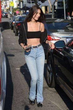 Bella Hadid steps out in skimpy crop top and dares to go make-up free Bella Hadid Outfits, Bella Hadid Style, Teen Fashion, Fashion Outfits, Womens Fashion, Fashion Trends, Fashion Tips, Style Fashion, Fashion Ideas