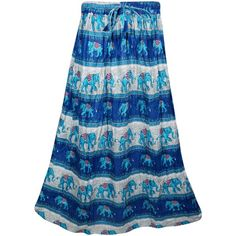 Indiatrendzs Printed Women's A-line Blue Skirt ❤ liked on Polyvore featuring skirts, blue a line skirt, knee length a line skirt, blue knee length skirt, blue skirt and a-line skirt