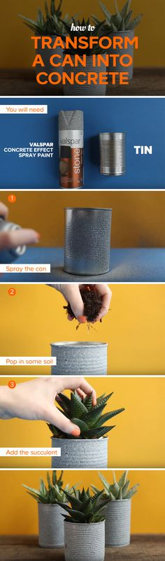 Turn an old can into concrete with just a can of spray paint. This clever hack is quick and easy and will have you making mini plant pots all over your home. Watch our video to find out what else you can do with a can of spray paint!
