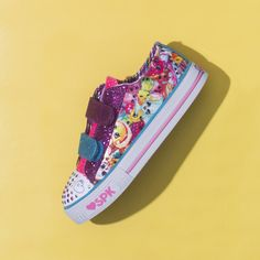 4cab878de274 Make her style delicious and so much fun with the SKECHERS Shopkins   Shuffles - Rainbow