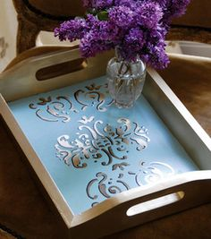 Re-purpose, reuse and Learn how to transform an old serving tray with a fresh coat of paint! Decoupage Furniture, Decoupage Art, Diy Furniture, Online Craft Store, Craft Stores, Diy Craft Projects, Diy Crafts, Craft Ideas, Painted Trays