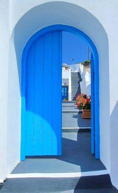door and stairs - Santorini, Greece