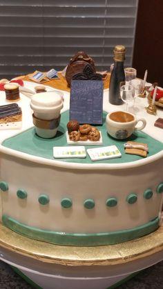 Retirement cake Starbucks section