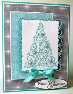 Handmade Card Kit Stampin Up Chrismas Tree Snow Swirled Winter Frost Swarovski | eBay