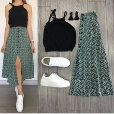 Fashion Beauty Lifestyle : Summer Outfit Idea For Teen :- AwesomeLifestyleFas. Mode Outfits, Skirt Outfits, Chic Outfits, Spring Outfits, Fashion Outfits, Womens Fashion, Dress Fashion, Mode Hippie, Mode Ootd