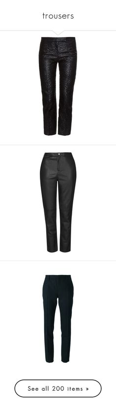 """""""trousers"""" by gmbtch ❤ liked on Polyvore featuring trousers, pants, bottoms, black, floral crop pants, cropped pants, tailored trousers, tailored pants, floral pants and calças"""