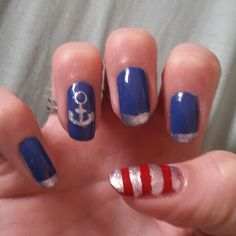 Marine nails blue, silver & red