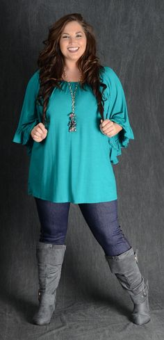 Jade Wide Sleeve Top - Curvy Plus Size Boutique - 1