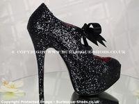 Bordello Shoes Teeze 10G Black Glitter Ribbon Laced Shoe