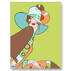 Shelby, 1920s Lady in Kiwi and Brown Postcards from Zazzle.com