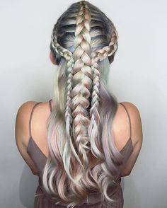 metallic⚙braids . . . . . . . . . . . . . #metallichair #rainbowhair #silverhair #bluehair #greyhair #braidinspo #btconeshot_rainbow16 #btconeshot_color16 #mermaidhair #unicornhair #pastelhair #peachhair #pinkhair #hairlife #funhair #newhair #festivalhair #structuredhair #dutchbraid #instabraid #minthair #hottopic #braidparade #vegashair #nylonmagazine #wallgroup