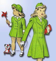 1940s Beautiful Toddler's Dress Coat Pattern 1944 Du Barry Vintage Design | eBay
