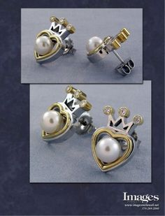 These custom earrings were created in solid white and yellow gold. In the crown we set diamond accents for added sparkle. A unique version of the classic Claddagh, these earrings are a perfect match to the ring we also created. Fighting Irish, Custom Earrings, Custom Jewelry Design, Pearl Diamond, June Birth Stone, Claddagh, Heart Jewelry, Perfect Match, Sterling Silver Pendants